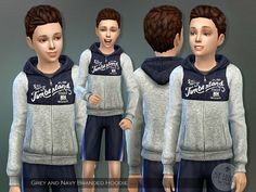 The Sims Resource: Grey and Navy Branded Hoodie by lillka • Sims 4 Downloads