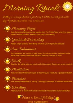 Download your free printable copy of suggestions for creating a morning ritual. #HealYourselfHealtheWorld