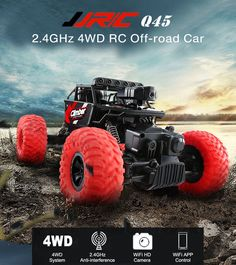 JJRC Q45 RC Cars 1/18 2.4GHz 4WD RC Off-Road Car WiFi FPV 480P Camera APP Control Independent Suspension System Cars Toys Gifts  Price: 89.00 & FREE Shipping #computers #shopping #electronics #home #garden #LED #mobiles #rc #security #toys #bargain #coolstuff |#headphones #bluetooth #gifts #xmas #happybirthday #fun Rc Off Road, Travel Car Seat, Car Wifi, App Control, Rc Cars, Offroad, Monster Trucks, Electronics Gadgets, Off Road