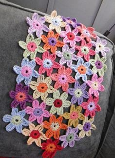 CROCHET PATTERN: Sussex Flower Mat, Cushion, tablecloth or wrap...