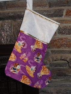 """Disney Beauty and The Beast Christmas Stocking Cotton w/Flannel Lined Handmade Supersize 21"""" x 15"""", Belle by DesignsByGranGran on Etsy"""