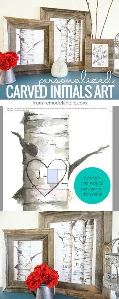 Decorate for winter and lovey-dovey Valentine's Day *without* the pink and purple with this beautiful set of free printable personalized birch tree art prints, with custom carved initials and names, from http://Remodelaholic.com.