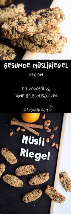 Gesunde Müsliriegel selber machen | vegan - mit Kokosöl, ohne Haushaltszucker & viel Power... #müsliriegel #müsli #gesundbacken #gesundessen #vegan #veganermüsliriegel #müslibar #frühstückskekse