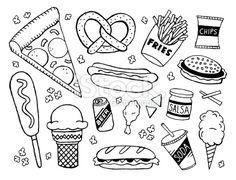 junk food/fast food themed doodle page. A junk food/fast food themed doodle page.A junk food/fast food themed doodle page. Doodle Drawings, Easy Drawings, Doodle Art, Food Doodles, Bujo Doodles, Doodle Pages, Doodle Inspiration, Food Drawing, Junk Food
