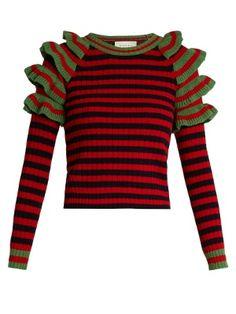 Striped ruffled-shoulder wool sweater | Gucci | MATCHESFASHION.COM AU