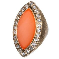 Gold Coral Faceted Marquise Ring