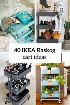 40 Smart Ways To Use IKEA Raskog Cart For Home Storage | DigsDigs Ikea Storage Cart, Ikea Bar Cart, Ikea Trolley, Rolling Storage Cart, Storage Trolley, Diy Furniture, Bathroom Cart, Ikea Nightstand, Sewing Equipment