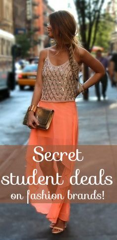 Secret student deals on Fashion brands like Forever21, Charlotte Russe, WetSeal, ASOS. WHERE WAS THIS ALL MY LIFE