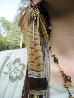 Deep Hued Golden Grouse Tail Feather & Long Leather Fringe Earring / Roach Clip / Hair Extension