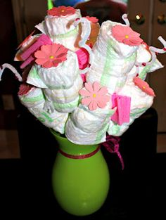 DIAPER BOUQUET FOR BABY SHOWER!
