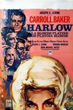 Harlow with Carroll Baker. Belgian movie poster with art by RAY (Raymond Elseviers)