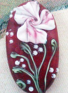 Lampwork Bead  Pendant Focal Floral Couture by UglyDucklingBeads,