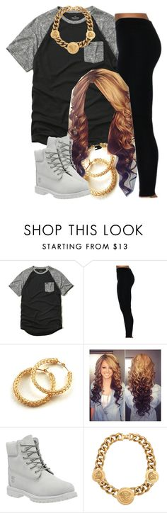 """""""The Trill Dolls Performance (Nautica's outfit)"""" by trillest-queen ❤ liked on Polyvore featuring Hollister Co., Timberland, Versace, women's clothing, women, female, woman, misses and juniors"""