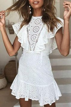 Top Magical Summer Outfits To Copy ASAP Sexy Lace Openwork Embroidered Lace Stitching Sleeveless Ruffled Dress summer dress outfit dresses for summer Sexy Dresses, Dress Outfits, Casual Dresses, Fashion Dresses, Ruffled Dresses, Fashion Clothes, White Mini Dress, White Lace, Spring Dresses