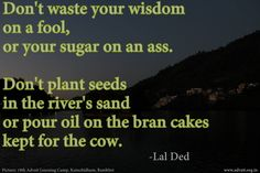 Don't waste your wisdom on a fool, or your sugar on an ass. Don't plant seeds in the river's sand or pour oil on the bran cakes kept for the cow.  ~ Lal ded