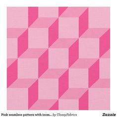 Pink seamless pattern with isometric cubes fabric