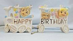 Vtg Pair Ceramic Empress Japan Train Happy Birthday Cake Topper Candle Holder B #Empress #CakeTopper