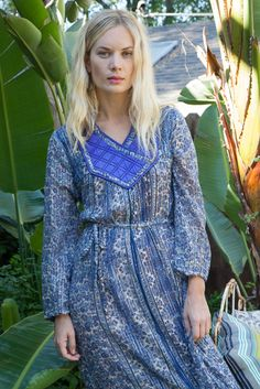 Blue Indian Dress with Silver Threads