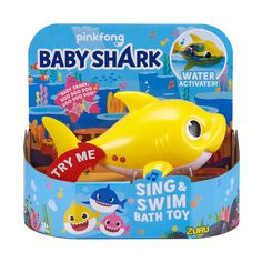 Robo Alive Junior Baby Shark Battery-Powered Sing and Swim Bath Toy by ZURU - Baby Shark (Yellow) (Color may vary) Baby Shark Song, Baby Shark Doo Doo, Lego, Baby Swimming, Water Toys, Splish Splash, Theme Song, Baby Essentials, Early Learning