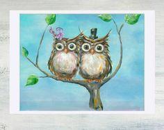 Owl Painting on Canvas Night Owl Original por IntoTheBluePaintShop