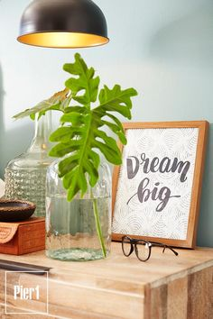 """In case you ever start to dream little, our framed wall art is here to remind you to """"Dream big."""" Printed on blue-gray patterned paper under glass, it's inspirational encouragement that's available on your wall Gallery Frames, Metal Lanterns, Galvanized Metal, Stems, Dream Big, Framed Wall Art, Modern Farmhouse, Greenery, Vines"""