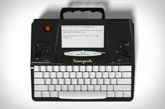The Hemingwrite is a new, single-purpose, distraction-free typewriter that merges an e-ink display. Evernote, Google Drive, Old Fashioned Typewriter, E Ink Display, Wifi, Writing Machine, Modern Tech, Hardware, Press Kit