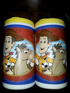 Clorox wipes containers+ self stick wallpaper border = kids craft supplies storage!