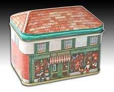 """HOUSE SHAPED TIN """"TOY SHOPPE"""" OLD FASHIONED LOCAL SHOP SCENE CONTAINER"""