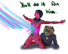 Ladybug protects Chat Noir, just as he protects her.