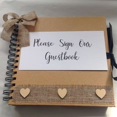WEDDING GUESTBOOK Rustic, Shabby Chic Hessian Burlap Trim,  | eBay Rustic Wedding Gifts, Rustic Wedding Guest Book, Hessian, Burlap, Guestbook, Wedding Supplies, Shabby Chic, Home And Garden, Diy