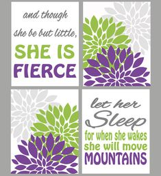 And though she be but little she is fierce Let her Sleep she will move mountains Purple Lime Green Gray Flower Bursts Nursery Room Prints by PurpleChickletPrints