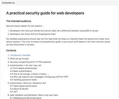 A practical security guide for web developers:  https://github.com/FallibleInc/security-guide-for-developers