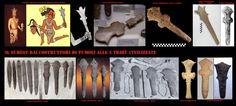 Mazze e lame ad uso cerimoniale. Tutti questi oggetti provengono da siti archeologici.