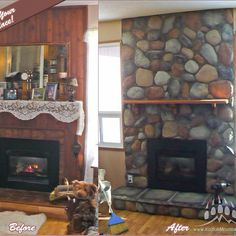#Fireplace #BeforeAndAfter #kodiakmountainstone Mountain, Stone, Instagram Posts, Home Decor, Homemade Home Decor, Rocks, Decoration Home, 1st Birthdays, Rock