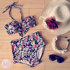 Sigrid - Retro Vintage Pin Up Handmade Black Red Pink Green Floral High Waist Bikini Swimsuit Swimwear
