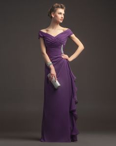 Gignified Sheath/Column Offtheshoulder Beading Floorlength Chiffon Prom Dresses
