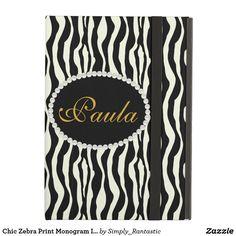 Chic Zebra Print Monogram Ipad Case