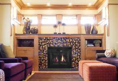 Fireplace surround, handmade artisan tiles - Mercury Mosaics
