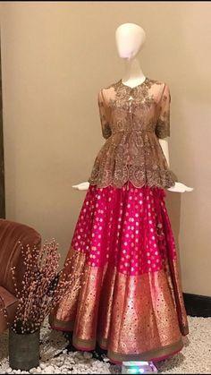 Beautiful Banarasi Silk Lehenga with peplum blouse top with hand embroidery. Sarara Dress, Lengha Dress, Choli Dress, Long Gown Dress, Silk Lehenga, Cape Lehenga, Lehenga Blouse, Anarkali, Stylish Dress Designs