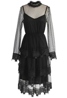 Nonpareil Polka Dots Mesh Tiered Dress in Black - New Arrivals - Retro, Indie and Unique Fashion