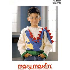 Use Mary Maxim Worsted Weight yarn to knit this sweater. Knitting For Kids, Knitting Projects, Baby Knitting, Knitting Ideas, Sweater Knitting Patterns, Knit Patterns, Knit Or Crochet, Crochet Baby, Dinosaur Sweater