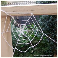 A creepy Crochet spider's web (contains link to free pattern).  Fitzbirch Craft.