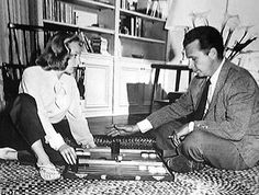 Image detail for -JUNE ALLYSON and DICK POWELL playing backgammon at home in the late ...