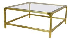 1960s Polished Brass With Inset Glass Coffee Table by Mastercraft on Chairish.com