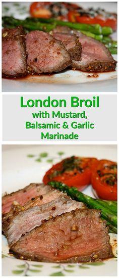 London Broil with Mustard, Balsamic Vinegar and Garlic Marinade - a family dinner favorite. Recipe via aggieskitchen.com