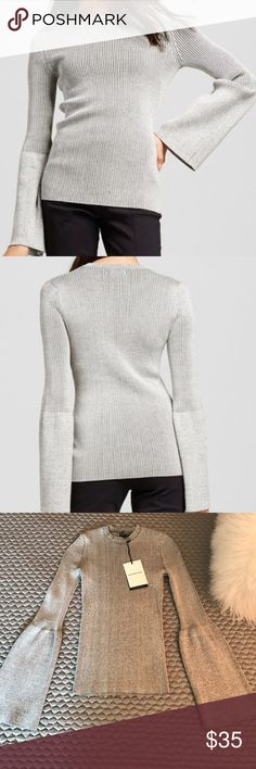 """NEW Who What Wear Trumpet Sleeve Sweater! Hailed via the fashion web as the """"Affordable Sweater That Belongs at Barneys"""". New with tags. Trumpet/ Bell Sleeve. Marked black and white. Too small for me. Who What Wear Tops Blouses"""