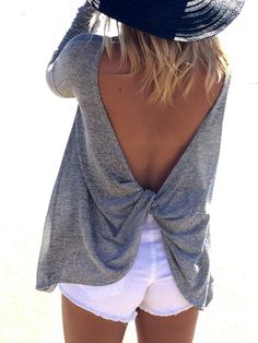 Grey Long Sleeve Backless Sweater