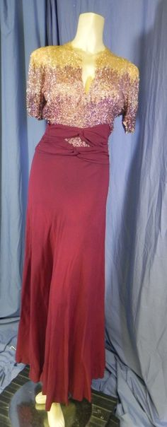 VIntage 1930s Burgundy Ombre Celluloid Sequins Evening Gown Dress