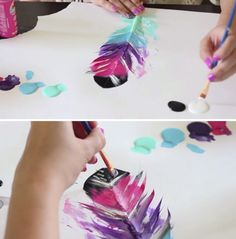 DIY Painted Feather Projects and Art for Kids by DIY Ready at http://diyready.com/diy-painted-feathers/