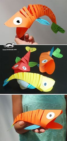 Moving Paper Fish: One Fish, Two Fish, Red Fish, Blue Fish! Moving Paper Fish: One Fish, Two … Paper Crafts For Kids, Projects For Kids, Paper Crafting, Diy For Kids, Craft Projects, Craft Ideas, Fish Crafts Kids, Fish Paper Craft, Sea Crafts
